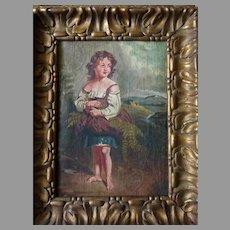 !9th Century European Oil Painting of Girl Gathering Ferns