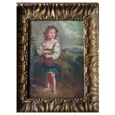 !9th Century European Oil Painting of Girl Gathering Ferns