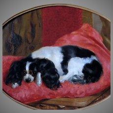 Cavalier King Charles Spaniel on Cushion 19th Century Dog Oil Portrait