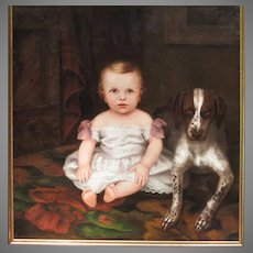 Antique American School Oil Portrait of Child and Dog