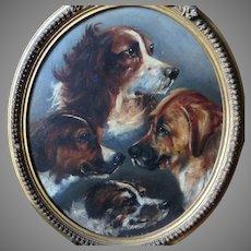 Antique Oil Painting Portrait Montage of Four Dogs Rare Piece