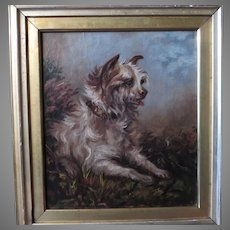 19th Century Terrier Portrait Dog Painting in Landscape Setting