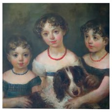 Large Early 19th Century American Portrait of Three Young Sisters and Spaniel