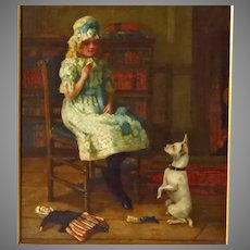 19th Century Oil Painting Young Girl and Terrier Signed