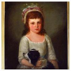 19th Century Oil Portrait Girl Holding Her Spaniel