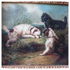Three Terriers Rabbiting 19th Century Oil British School