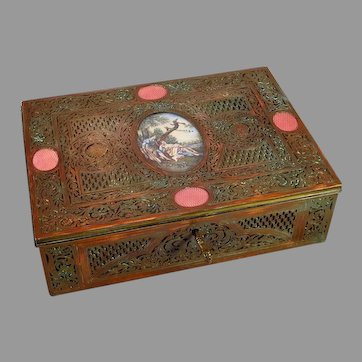 19th Century Copper Jewelry Letter Box with Portrait Miniature and Guilloche Enamel Accents