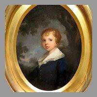 Antique American School Oil Portrait of Boy in Landscape Setting Fabulous Frame