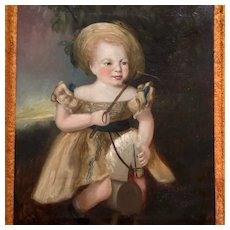 Antique English School Primitive Oil Painting Young Child Riding Toy Horse