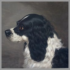 Antique Oil Portrait Black and White Spaniel English School