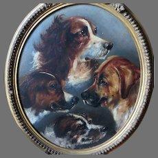 Montage of Four Dogs Antique Oil Painting Portrait Rare Piece