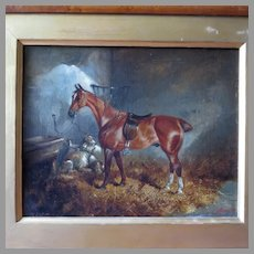 19th Century Oil Saddled Horse with Dogs in a Stable