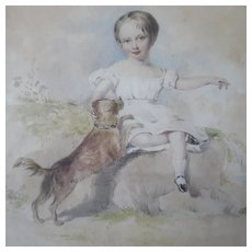19th Century Watercolor Young Girl Petting Terrier English School