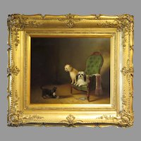Zacharias Noterman 1850's Painting Three Dogs in Interior