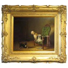Zacharias Noterman 1850's Painting Three Dogs in Interior