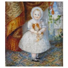19th Century Miniature Painting Young Girl Holding Spaniel