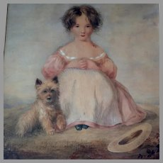Large 19th Century Watercolor Young Girl and Terrier English School