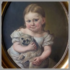 Antique Oil Portrait Young Girl Holding Pug Dog