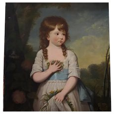 18th Century Oil Portrait Young Girl Picking Flowers English School
