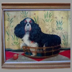 King Charles Spaniel Original Naive Painting by Paul Stagg