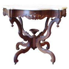 Victorian Walnut Marble Top Center Table 1870's Rococo Revival