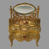 Antique Heavy Bronze Jewelry Box or Casket Miniature Dressing Table for Doll Display