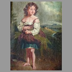 19th Century European Oil Painting of Girl Gathering Ferns in Landscape
