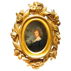 Antique American School Oil Portrait of Boy in Landscape Setting Hand Carved Gilt Frame