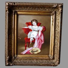 Antique Porcelain Plaque Young Girl in Chair