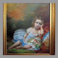 Large 19th Century American School Portrait of Beautiful Young Girl in Outstanding Frame