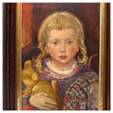 Oil Portrait Girl with Pigtails Holding Her Teddy Bear