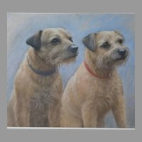 English Pastel Portrait of Two Terriers