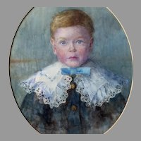 Portrait of Young Boy with Lace Collar English School c 1900