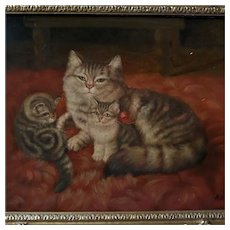 19th Century Oil Portrait Mother Cat with Kittens