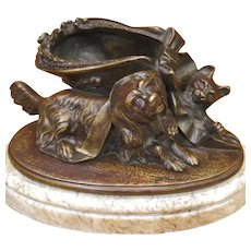 19th Century French Bronze Sculpture King Charles Spaniel Playing With Kitten