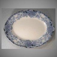"""Large 19"""" Flow Blue Art Nouveau Platter Floral Design"""