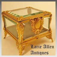 French Napoleon III dore bronze crystal jewelry casket box