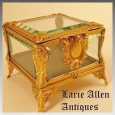 French Napoleon III dore bronze crystal jewelry casket box