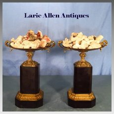 Pair French Empire Bronze and Black Marble Tazza 19th Century
