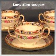 Set 4 Minton Bouillon Cups and Saucers