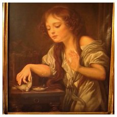Antique Oil Painting Young Girl Signed Bregoli after Greuze