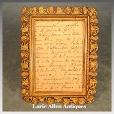 Antique Miniature Picture Frame Gilt Brass