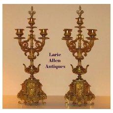 Antique Pair French Gilt Bronze Candelabra Louis XV