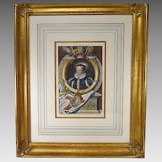 Antique Hand Colored Engraving Queen Mary I by George Vertue
