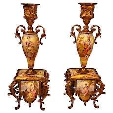 Antique Pair Austrian Enamel Bronze Candlesticks