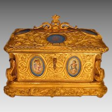On Hold. Antique French Gilt Bronze Jewelry Casket Sevres Style Porcelain Plaques