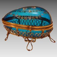 Antique Bohemian Enameled Glass Egg Casket