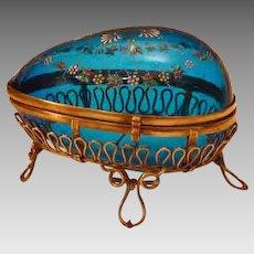 Antique Bohemian Enameled Glass Egg Casket