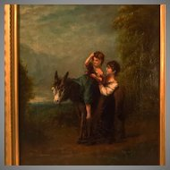 Antique English Oil Painting Mother Child Donkey