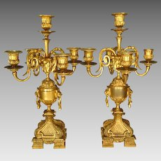 19th Century Pair French Gilded Bronze Candelabra